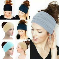 Solid Wide Sports Headband Women Fashion Causal Elastic Turban Hairband Headwrap