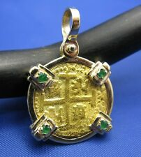 Solid 24k Gold Escudo Replica Coin with 14k Gold Bezel Genuine Emeralds Pendant