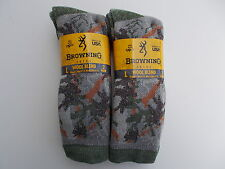 Browning Made In USA Merino Wool Blend Men's Crew Socks Size 9-13 Four Pairs