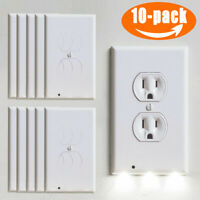10X Wall Outlet Plug Socket  Coverplate LED Night Light Sensor Receptacles