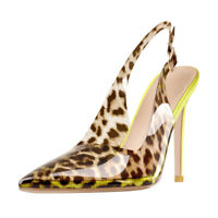 Onlymaker Womens Leopard Pointed Toe Stilettos High Heel Slingback Pumps Sandals