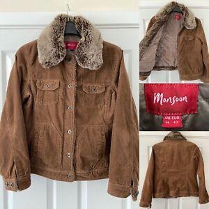 Monsoon Brown Sherpa Cord Jacket Size 14 Fur Hood  VGC 🔥