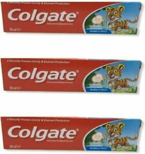 3 PACK Colgate Toddler Bubble Fruit Anticavity Toothpaste 50ml For 2-5 Years
