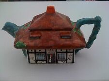 LARGE JOHN MADDOCK & SONS THATCHED COTTAGE WARE TEAPOT ART DECO