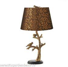 """24""""  Bird & Tree Branch Table Lamp w/shade - Antique Silver Polystone NEW"""
