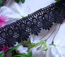 Venise Lace, trim 1+3/4 inch  wide  black color -1 yard and 15 inch cut