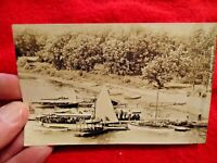 """1911 """"Scene At Scott's Landing Pistakee Lake, Ill."""" Real Photo Post Card - used"""