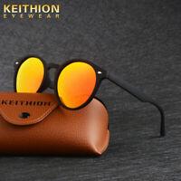 KEITHION New Round Polarized Sunglasses Womens Vintage Retro Mirrored Eyewear