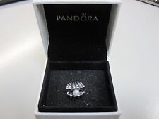 RETIRED PANDORA ONE OF A KIND CLAM SHELL W/PEARL CHARM W/BOX-791134P-FREE GIFT