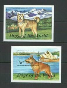 [GR] GRENADA 1993 DOGS, DOMESTIC PETS. 2 SOUVENIR SHEETS.