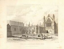 1830 ANTIQUE PRINT J CARTER-LONDON-RUINS OF ELY PALACE & CHAPEL, HOLBORN