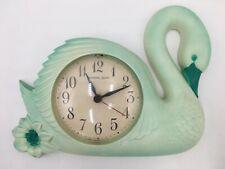 Vintage 1989 Burwood Products 3125 Green Swan New Haven Quartz Battery Clock USA