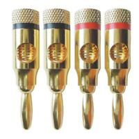 4Pcs 4mm Gold Plated Banana Plug Music Speaker Cable Jack Amp HiFi Connectors
