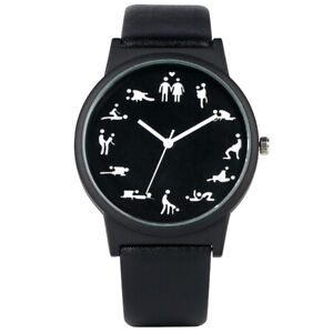 New Fashion Men's And Women's Creativity Interesting Quartz Watch Leather Gifts