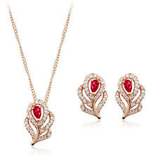 18K ROSE GOLD PLATED GENUINE AUSTRIAN CRYSTAL & CZ NECKLACE AND EARRING SET