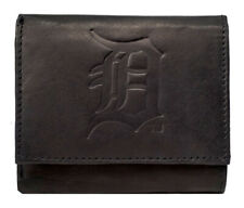 Detroit Tigers MLB Distressed Look Embossed Logo Black Leather Trifold Wallet