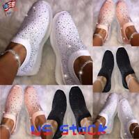 Fashion Women Slip On Casual Sneakers Shiny Socks Walking Shoes Loafers Party US