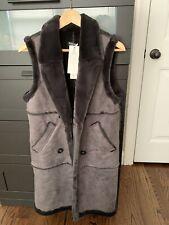 Women Fashion Suede Fur Long Vest Grey Color