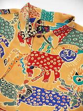 JAMS WORLD MEN LARGE SHIRT VINTAGE RARE KOREAN CAT TIGER ANIMAL ART PRINT ORANGE