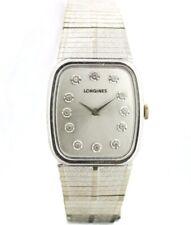 Longines Silver Diamond Dial Tonneau Stainless Steel Manual Wind Wrist Watch