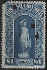 Canada Revenue VanDam # BCL4 $1.00 blue BC Law Stamp of 1879