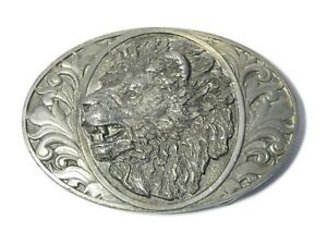Vintage USA Pictorial Pewter Belt Buckle with Lion's Head by Bergamot