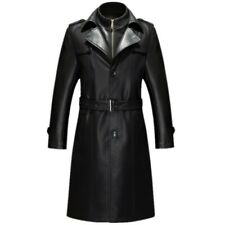 Men's Real Leather Long Jacket Coats Trench Overcoats Business Luxury Outwear