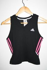 Adidas Climalite Women's T-Shirt Sport Gym Fitness Crop Black Tank Top Sample S
