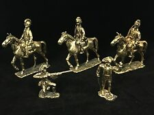 5 Vintage Gold-Tone METAL Revolutionary War Toy Soldiers REMOVABLE Cavalrymen