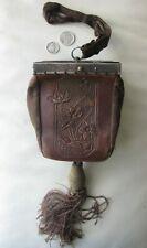 Antique Victorian Art Nouveau Silver Tone Metal Frame Leather Box Purse 1800s