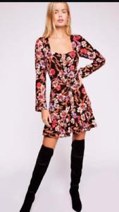 Free People Square Neck Ruffle Hem Floral Mini Dress  Red Black XS - UK 6-8
