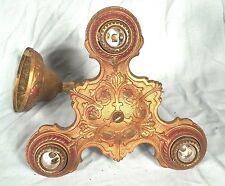 ANTIQUE VICTORIAN ART DECO ART NOUVEAU 3 LIGHT GOLD PAINTED CAST IRON CHANDELIER