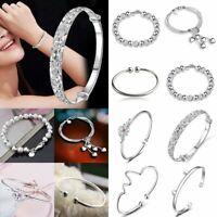 925 Silver Women Flower Opening Bracelet Fashion Bangle Wedding Party Jewelry