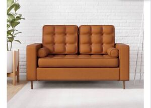 Upholstered Loveseat with Square Arms, Tufting Bolster Throw Pillows