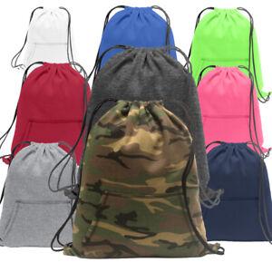 Sweatshirt Fleece Drawstring Bag Backpack Cinch Sack Gym Hoodie Style w/ Pocket
