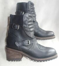 ASH Strike Leather Buckle biker Moto Boots -SZ 40 US 9.5 NEW