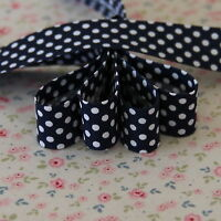 4m 18mm Navy with White Polka Dots Bias Binding, Edging, Trim