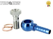 "7/16"" UNF Master Cylinder Push On Banjo Adapter and Bolt to 5/16"" 8mm Barb"