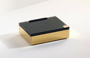 Schönbeck Design Feuchttücherbox Feuchttuchbox goldfarben mit Glas schwarz