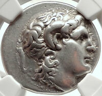 LYSIMACHOS Silver Tetradrachm Ancient Greek Coin ALEXANDER the GREAT NGC i68281