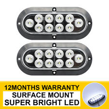 """2 X 6"""" 10 LED Surface Mount Oval White Reverse Ligh Turn Signal Side Marker Tail"""
