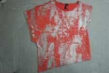 TS TAKING SHAPE orange watermelon silver glitter stretch top size XXS 14 BNWT