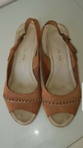Sensitive Sole Ladies Genuine Suede Wedge Slingback Sandals Size 5