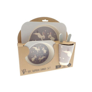 Country Club Bamboo Dinner Set, Rabbit Kids Childrens Dining Plate Bowl Cup