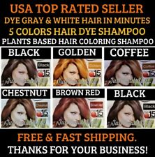 5 PCS CHESTNUT BROWN HERBAL SHAMPOO COLOR GRAY&WHITE HAIR IN MINUTES