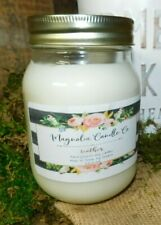 Scented LEATHER 16oz Mason Jar Hand Poured Magnolia Candle Co. 100% Soy