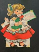 "8"" Vtg Hallmark Christmas Greeting Card Sweet Girl with Doll GRANDDAUGHTER 1950s"