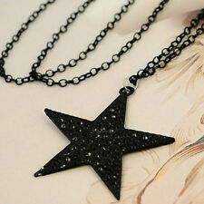Rhinestone Beauty Long Necklace Black Big Pentagram Star Pendant ChainP