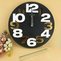 Round Wall Clock Modern Design Watch Home Decoration 3D Big Numbers Design Decor