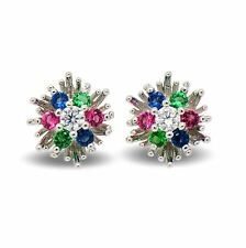 Small 9ct White Gold Filled Womens Stud Earrings with Multi Colour CZ Crystals